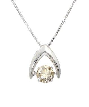天然ダイヤモンド シャンパンカラー 大粒0.5ctアップ ダンシング ネックレス
