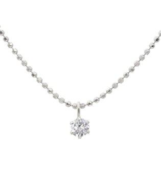 Hカラークラス天然ダイヤモンド 0.1ct 6本爪 ネックレス