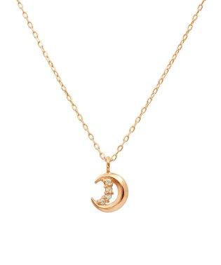 フェミニンな10金ゴールド!K10ゴールド 天然ダイヤモンド ネックレス 選べる3カラー 【ムーン/K10PG】