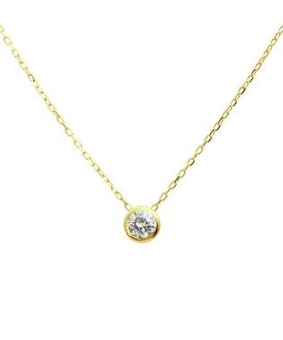 百貨店売れ筋!高級K18ゴールド 天然ダイヤモンド 0.1ct フクリン 一粒ペンダント 【K18YG イエローゴールド】