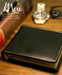 【MRU】レザー 中ベラ付 2つ折り 財布 サイフ