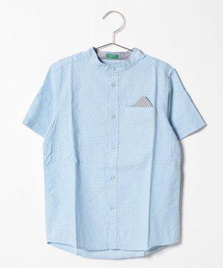 ポケットチーフ付きマオカラーシャツ