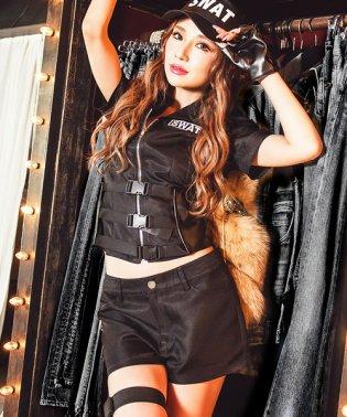 Cosplay【コスプレ】スワット 7点セット 仮装 衣装 セクシー ポリス レディース 大人 グループ シャツ ショートパンツ 帽子 防弾カマー 手袋 拳銃
