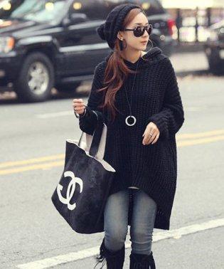 フェミニンロングニット 韓国 ファッション レディース ゆったり かわいい 秋用 冬用【A/W】【ra-2031】