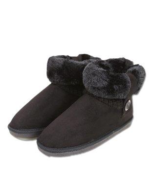 (ショートブーツ)2way裏ボアニット切替ムートンタッチブーツ(冬物 冬 レディース ブーツ ボア あったか 靴 裏ボア ショート 折返し 歩きやすい ショート