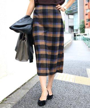【K-1】チェック柄 ウール タイトスカート ミモレ丈