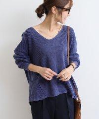 【B-10】Vネック コットン ニット セーター 片畦編み 長袖 トップス