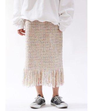 ラメツイードフリンジスカート