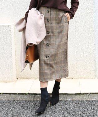 【S-5】チェック柄 タイトスカート フロントボタン ロングスカート