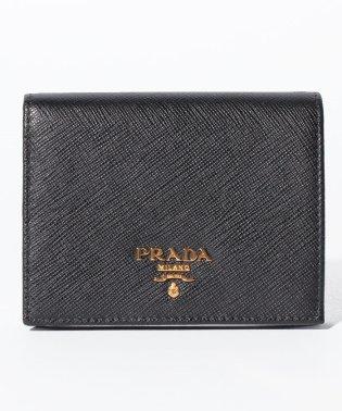 【PRADA】2つ折りコンパクト財布 / SAFFIANO METAL ORO 【NERO】