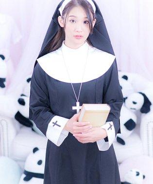 costume【コスチューム】シスターガール3点セット(ベール、ネックレス、ドレス)/黒(ブラック)