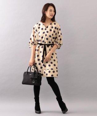 ★★【WEB・店舗限定】【Tricolore】【ウォッシャブル】ポルカボンボンプリントドレス