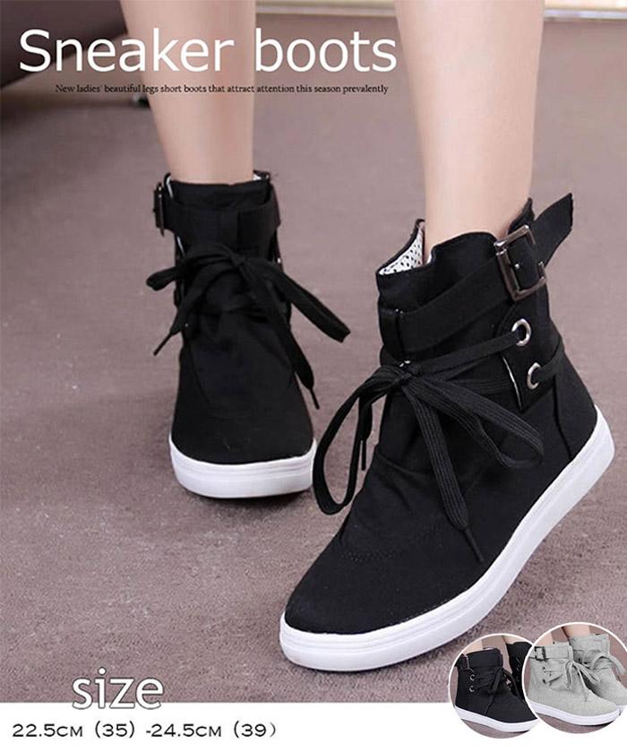 スニーカーブーツ レディース 厚底 リボン ショートブーツ 歩きやすい靴 ローヒール