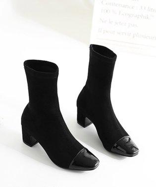 ブーツ ショートブーツ レディース ソックスブーツ 太ヒール 靴 春秋冬 韓国 美脚 無地