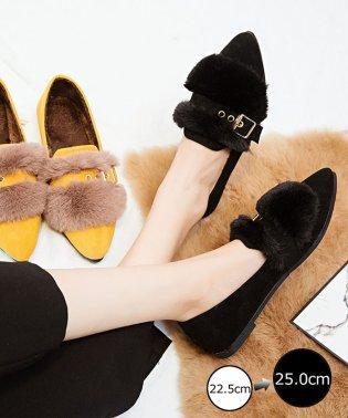 ファーパンプス レディース 靴 秋冬 ローヒール ファー付き シューズ 韓国 ぺたんこ
