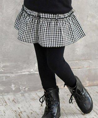 ブラックチェック柄レギンス付きスカート