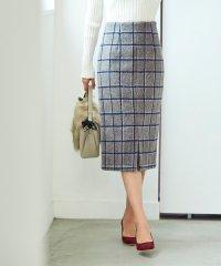 ウール混チェックタイトスカート