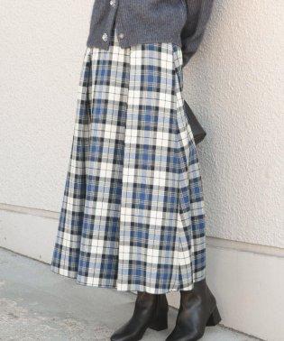 PrimaryNavyLabel:チェックバックベルトフレアスカート