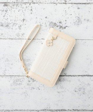 ツイードフラワーチャーム付きブック型iPhone8/7/6/6sケース