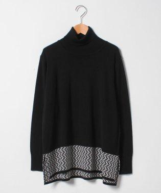 【大きいサイズ】NADIA ヘリンボーン柄切替セーター