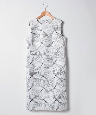 【大きいサイズ】ジオメトリックプリント ノースリーブドレス