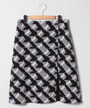 【大きいサイズ】変形千鳥プリント 切替Aラインスカート