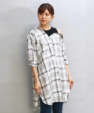GRANDTABLE(グランターブル)ドッキングチェックロングシャツ