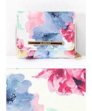 水彩風花柄3つ折り財布