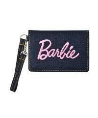 Barbie バービー デニム 刺繍 ロゴ リール付き パスケース