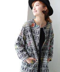 【Cu】ジャガード刺繍ノーカラージャケット