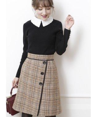 チェックツイード台形スカート
