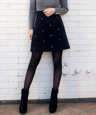 ビジュー台形スカート