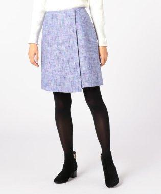 カラーツィードラップ風スカート
