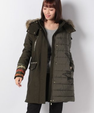 WOMAN WOVEN PADDED LONG OVERCOAT