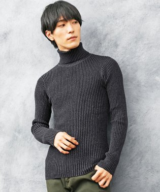 2重臼デザインタートルネックニットセーター