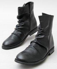 【glabella/グラベラ】PUレザードレープブーツ/ミドルブーツ