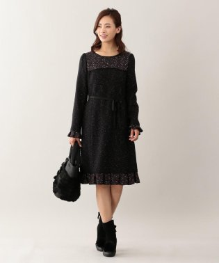 カラーノットツイードドレス
