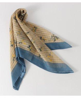 ストライプ小花柄スカーフ