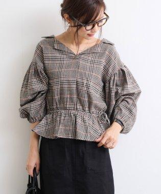 【E-1】チェック柄 抜き襟 シャツ ブラウス ボリューム袖 ネルシャツ トップス