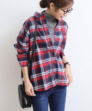 【E-7】チェック柄 起毛 ネルシャツ ブラウス オーバーサイズ トップス