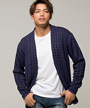 CavariA【キャバリア】日本製グレンチェック柄ジャガード織り長袖ニットガウン