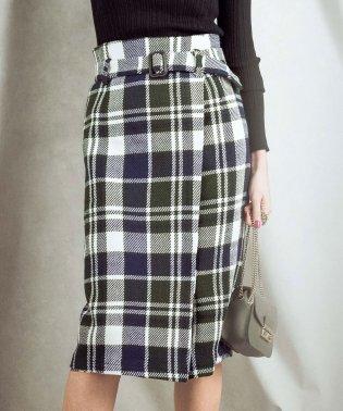 ダイナミックチェック柄ツイードスカート