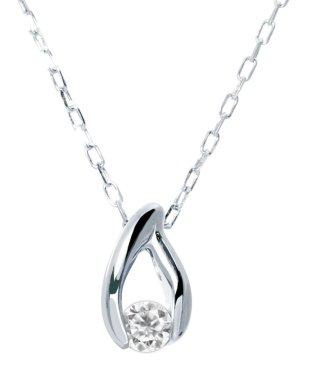 限定数★厳選ダイヤ!K18ゴールド 天然ダイヤモンド 0.03ct ドロップネックレス K18WG ホワイトゴールド