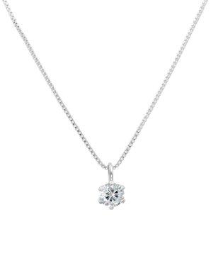 天然ダイヤモンド 0.1ct VVSクラス 6本爪ネックレス 鑑定書付 ベネチアン40cm