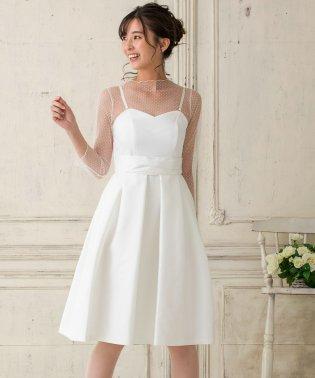 【結婚式・ウエディングドレス】ドットチュールインナー付き フレアショートウェディングドレス