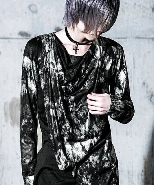 Bernings Sho【バーニングショー】汚しプリントフェイクインナードレープ長袖Tシャツ