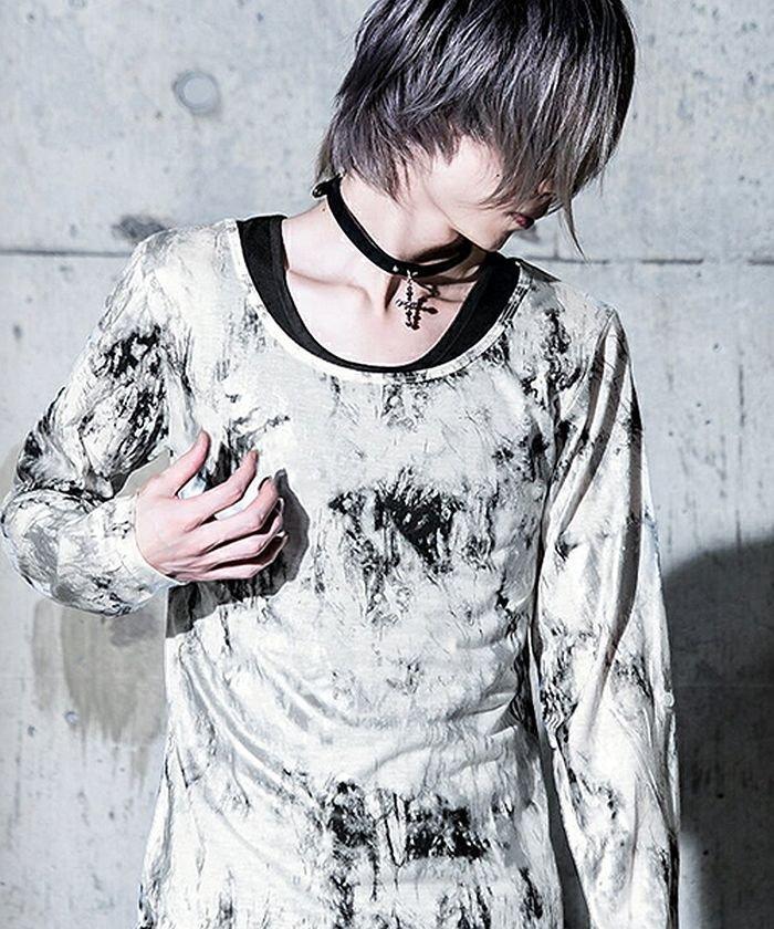 (BERNINGS-SHO/バーニングスショー)Bernings Sho【バーニングショー】 汚しプリントクルーネック長袖Tシャツ&タンク2Pセット/メンズ ホワイト