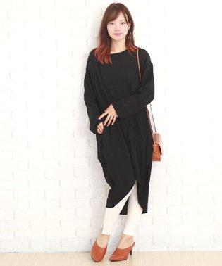 ポンチョ風レディースワンピース 韓国 ファッション レディース あったか かわいい 秋用 冬用【A/W】【vl-5296】 M ブラック