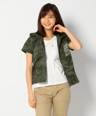 S/S CAMOUFLAGE STRETCH ZIP SHIRT/ 半袖  迷彩 ストレッチ ジップシャツ