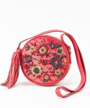 フラワー刺繍ラウンドバッグ